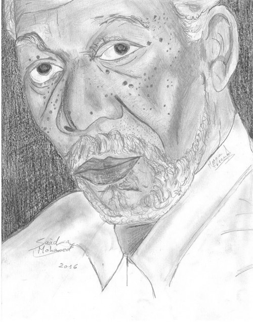 This is a portrait of The American actor Morgan Freeman Morgan Freeman (born June 1, 1937) is an American actor, producer and narrator. Freeman won an Academy Award in 2005 for Best Supporting Actor with Million Dollar Baby (2004), and he has received Oscar nominations for his performances in Street Smart(1987), Driving Miss Daisy (1989), The Shawshank Redemption (1994) and Invictus (2009). He has also won a Golden Globe Awardand a Screen Actors Guild Award.  Freeman has appeared in many other box office hits, including Glory (1989), Robin Hood: Prince of Thieves (1991), Seven (1995), Deep Impact (1998), The Sum of All Fears (2002), Bruce Almighty (2003), The Dark Knight Trilogy (2005–2012), Wanted (2008), RED(2010), Now You See Me (2013), The Lego Movie (2014), and Lucy (2014). He rose to fame as part of the cast of the 1970s children's program The Electric Company. Morgan Freeman is ranked as the 4th highest box office star with over $4.316 billion total box office gross, an average of $74.4 million per film.