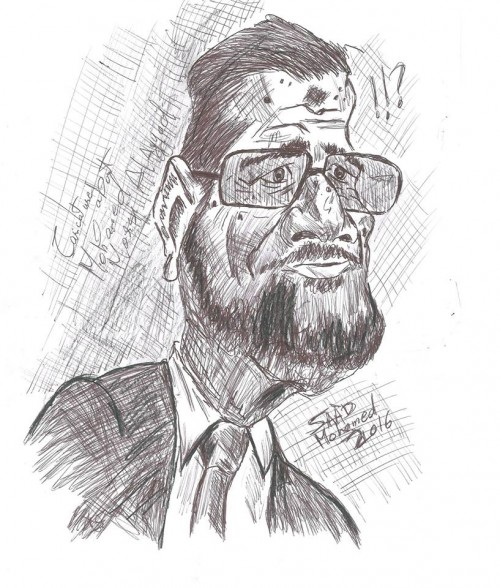 This is a caricature of Mohamed Morsi the president of Egypt Mohamed Morsi (born 8 August 1951) is an Egyptian politician who served as the fifth President of Egypt, from 30 June 2012 to 3 July 2013, when General Abdel Fattah el-Sisi removed Morsi from office in the 2013 Egyptian coup d'état after the June 2013 Egyptian protests.