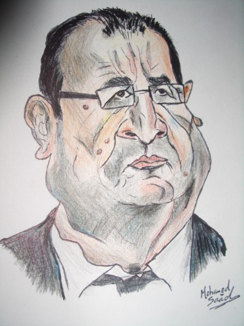 Caricature of the president of france François Hollande