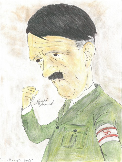 """Caricature of adolf Hitler Adolf Hitler (20 April 1889 – 30 April 1945) was a German politician who was the leader of the Nazi Party, Chancellor of Germany from 1933 to 1945 and Führer (""""Leader"""") of Nazi Germany from 1934 to 1945. As dictator, Hitler initiated World War II in Europe with the invasion of Poland in September 1939, and was central to the Holocaust. [Graphic design by Ahmed Wahid]"""