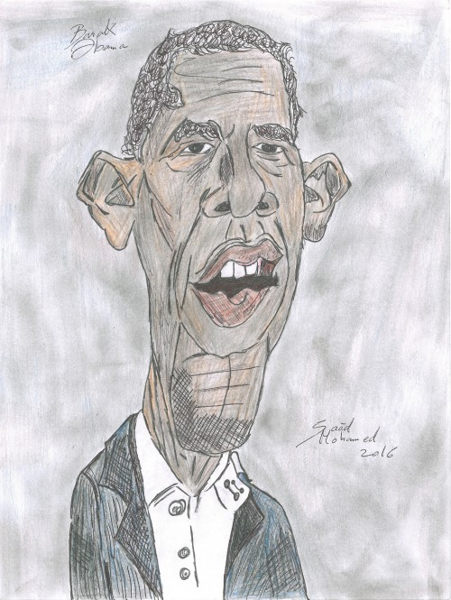 This is a caricature of Barak Obama