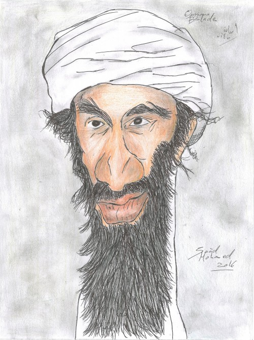 Caricature of the old Leader of Al Qaida Usama ibn Mohammed ibn Awad ibn Ladin, often anglicized as Osama bin Laden (born on March 10, 1957 – Dead May 2, 2011) was the founder of al-Qaeda, the organization that was responsible for the September 11 attacks on the United States, along with numerous other mass-casualty attacks worldwide. He was a Saudi Arabian, a member of the wealthy bin Laden family, and an ethnic Yemeni Kindite. Bin Laden was born to the family of billionaire Mohammed bin Awad bin Laden in Saudi Arabia. He studied at university in the country until 1979, when he joined Mujahideen forces in Pakistan fighting against the Soviet Union in Afghanistan. He helped to fund the Mujahideen by funneling arms, money and fighters from the Arab world into Afghanistan, and gained popularity among many Arabs. In 1988, he formed al-Qaeda. He was banished from Saudi Arabia in 1992, and shifted his base to Sudan, until U.S. pressure forced him to leave Sudan in 1996. After establishing a new base in Afghanistan, he declared a war against the United States, initiating a series of bombings and related attacks. Bin Laden was on the American Federal Bureau of Investigation's (FBI) lists of Ten Most Wanted Fugitives and Most Wanted Terrorists for his involvement in the 1998 U.S. embassy bombings. From 2001 to 2011, bin Laden was a major target of the United States, as the FBI placed a $25 million bounty on him in their search for him. On May 2, 2011, bin Laden was shot and killed inside a private residential compound in Abbottabad, where he lived with a local family from Waziristan, during a covert operation conducted by members of the United States Naval Special Warfare Development Group and Central Intelligence Agency SAD/SOG operators on the orders of U.S. President Barack Obama.