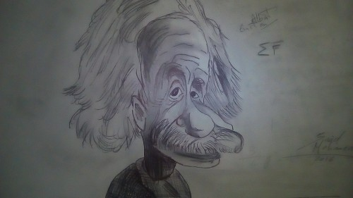 Caricature of Albert Einstein